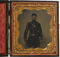 Photography:Tintypes, Very Nice Civil War Sixth Plate Tintype Of Armed Federal Infantryman....