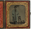 Photography:Tintypes, Sixth Plate Civil War Tintype Of Federal Infantryman In Overcoat....