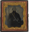 Photography:Tintypes, Sixth Plate Tintype Of Armed Federal Infantryman....