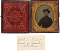 Photography:Tintypes, Sixth Plate Tintype Of Civil War Soldier With ID....