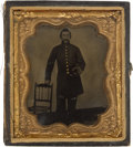 Photography:Tintypes, Early War Sixth Plate Tintype Of Federal Infantry Corporal....