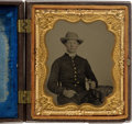 Photography:Ambrotypes, Great Sixth Plate Ruby Ambrotype Of Young Federal Soldier WithSharps Four Barrel Pepperbox....