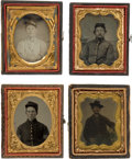 Photography:Ambrotypes, Group Of Four Ninth Plate Civil War Images Of Soldiers.... (Total: 3 Items)