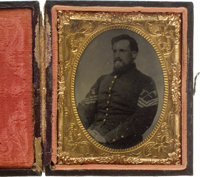 Rare Civil War Ninth Plate Tintype Of Federal Signal Corps Sergeant