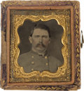 Photography:Tintypes, Sixteenth Plate Tintype Of Confederate 2d Lieutenant....