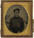 Photography:Tintypes, Sixth Plate Tintype Of Civil War US Sailor....