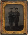 Photography:Tintypes, Half Plate Tintype Of Two Federal Infantry Officers....