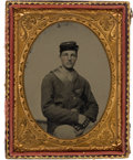 Photography:Ambrotypes, Exceptionally Nice Quarter Plate Ambrotype of Young FederalInfantryman....