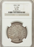 Bust Half Dollars, 1824 50C VF35 NGC. O-108. a. NGC Census: (41/740). PCGS Population(56/762). Mintage: 3,504,954. Numismedia Wsl. Price for ...