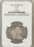 Early Half Dollars, 1807 50C Draped Bust Good 4 NGC. O-105. NGC Census: (8/1592). PCGSPopulation (5/1180). Mintage: 301,076. Numismedia Wsl. P...