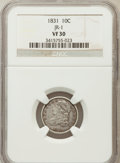 Bust Dimes, 1831 10C VF30 NGC. JR-1 NGC Census: (7/274). PCGS Population(10/277). Mintage: 771,350. Numismedia Wsl. Price for problem ...