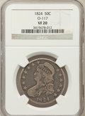 Bust Half Dollars, 1824 50C VF20 NGC. O-117. NGC Census: (16/826). PCGS Population(19/897). Mintage: 3,504,954. Numismedia Wsl. Price for pro...