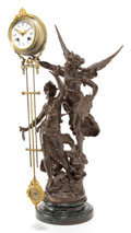 Timepieces:Clocks, AN ANSONIA SPELTER AND GILT BRONZE SWING-ARM CLOCK AFTER LOUIS ANDFRANCOIS MOREAU: L'IMMORTALITE . Design after Lou...