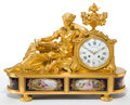 Timepieces:Clocks, A RAINGO FRÈRES FRENCH LOUIS XVI-STYLE GILT BRONZE AND PORCELAINMANTLE CLOCK. Raingo Frères, Paris, France, circa 1870-1880...