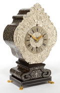 Timepieces, A GERMAN SILVERED METAL, TORTOISESHELL, PEWTER AND GILT BRONZE CLOCK. Circa 1700. 22-1/8 inches high (56.2 cm). ...