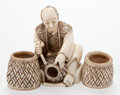Asian:Japanese, A JAPANESE IVORY OKIMONO OF A BASKET WEAVER . Makerunidentified, Japanese, Meiji period (1868-1912). Marks: (si...