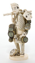 Asian:Japanese, A JAPANESE IVORY OKIMONO OF A MERCHANT . Maker unidentified,Japanese, Meiji period (1868-1912). Marks: (signed...