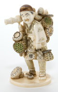 Asian:Japanese, A JAPANESE IVORY OKIMONO OF A MERCHANT . Maker unidentified,Japanese, Meiji period (1868-1912). Marks: (signed)...
