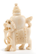 Asian:Chinese, A CHINESE IVORY OPIUM BOTTLE . Maker unknown, Chinese, late Qing Dynasty. 2-3/4 inches high (7.0 cm). ... (Total: 2 Items)