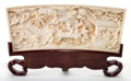 Asian:Chinese, A CHINESE IVORY FIGURAL PLAQUE . Maker unidentified, Chinese, lateQing Dynasty. Marks: (chop mark). 12-1/8 inches long (30....