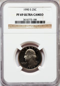 Proof Washington Quarters: , 1990-S 25C PR69 Ultra Cameo NGC. NGC Census: (517/136). PCGSPopulation (3414/232). Numismedia Wsl. Price for problem free...