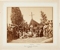 """Great Civil War Albumen of Chaplain Mooney Overseeing """"Services At Headquarters 69th N. Y. S. M. Virginia, 1861.&qu..."""