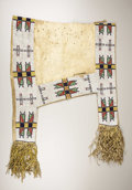 American Indian Art:Beadwork, A SIOUX BEADED HIDE SADDLE BLANKET. c. 1885. ...