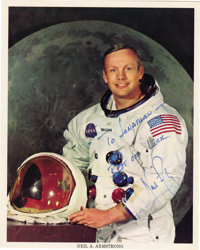 """Neil Armstrong Signed Color Photograph , 8"""" x 10"""". Signed """"To Jonathan-/ Best of Luck/ Neil Armstrong&quo..."""