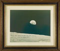 "Autographs:Celebrities, Apollo 8 ""Earthrise"" Large Color Photo Signed..."
