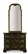 Furniture , A Black Lacquered Commode and Mirror. Drexel Heritage Furnishings, Inc., High Point, North Carolina. Late 20th century. La...