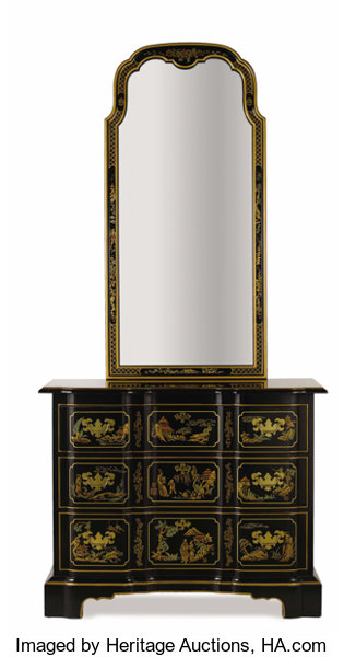 Drexel Heritage Furnishings Inc Furniture American A Black Lacquered Commode And Mirror