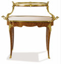 Furniture : French, A French Louis XV-Style Desserte Table. Paul Sormani, Paris,France. Circa 1870-1880. Kingwood, gilt bronze, glass. Marks:...