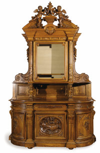 A Renaissance Revival Sideboard  Unknown maker, American Circa 1870-1890 Walnut, marble, glass, brass