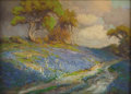 Texas:Early Texas Art - Impressionists, JULIAN ONDERDONK (1882-1922). Late Afternoon in the Bluebonnets,S. W. Texas, 1913. Oil on wood panel. 8 x 11 inches (20...