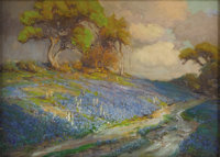 JULIAN ONDERDONK (1882-1922) Late Afternoon in the Bluebonnets, S. W. Texas, 1913 Oil on wood panel<