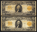 Large Size:Gold Certificates, Two Fr. 1187 $20 1922 Gold Certificates Fine.. ... (Total: 2 notes)