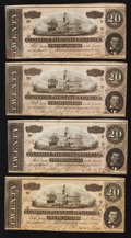 Confederate Notes:1864 Issues, T67 $20 1864 Four Examples.. ... (Total: 4 notes)