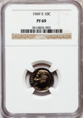 Proof Roosevelt Dimes: , 1969-S 10C PR69 NGC. NGC Census: (70/0). PCGS Population (145/0).Mintage: 2,934,631. Numismedia Wsl. Price for problem fre...