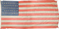 Antiques:Textiles, Large 38 Star U.S. Flag, Possibly from Fort Abraham Lincoln....