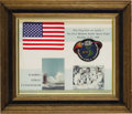 "Transportation:Space Exploration, U.S. Flag Flown in Space Aboard Apollo 7, 6"" x 3.75"", affixed to a13.5"" x 10.5"" mat with the Apollo 7 patch. Matted with tw...(Total: 1 Item)"
