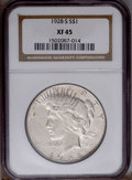Peace Dollars: , 1928-S $1 XF45 NGC. NGC Census: (14/2980). PCGS Population(38/4034). Mintage: 1,632,000. Numismedia Wsl. Price: $39. (#737...