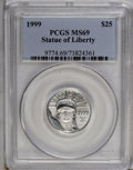 Modern Bullion Coins: , 1999 P$25 Quarter-Ounce Platinum Eagle MS69 PCGS. PCGS Population(798/2). NGC Census: (229/0). Mintage: 39,734. Numismedia...
