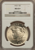Peace Dollars: , 1923 $1 MS65+ NGC. NGC Census: (33459/2876). PCGS Population(14924/1632). Mintage: 30,800,000. Numismedia Wsl. Price for p...