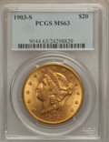 Liberty Double Eagles: , 1903-S $20 MS63 PCGS. PCGS Population (1357/358). NGC Census:(1307/278). Mintage: 954,000. Numismedia Wsl. Price for probl...