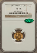 Commemorative Gold: , 1916 G$1 McKinley MS63 NGC. CAC. NGC Census: (355/1622). PCGSPopulation (772/2944). Mintage: 9,977. Numismedia Wsl. Price ...