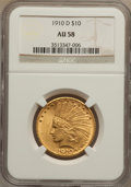 Indian Eagles: , 1910-D $10 AU58 NGC. NGC Census: (984/9839). PCGS Population(1153/7125). Mintage: 2,356,640. Numismedia Wsl. Price for pro...