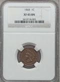 Indian Cents: , 1868 1C XF45 NGC. NGC Census: (34/266). PCGS Population (57/253).Mintage: 10,266,500. Numismedia Wsl. Price for problem fr...