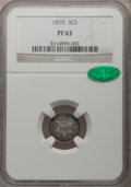 Proof Three Cent Silver: , 1870 3CS PR63 NGC. CAC. NGC Census: (40/146). PCGS Population(94/131). Mintage: 1,000. Numismedia Wsl. Price for problem f...