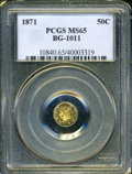 California Fractional Gold: , 1871 50C Liberty Round 50 Cents, BG-1011, R.2, MS65 PCGS. PCGSPopulation (26/9). (#10840)...