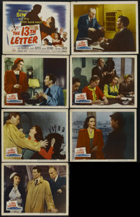 """The 13th Letter (20th Century Fox, 1951). Title Lobby Card (11"""" X 14"""") and Lobby Cards (6) (11"""" X 14""""..."""